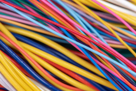 Group of colorful electrical cables closeup