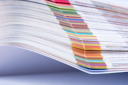 Colorful edges of page open book closeup
