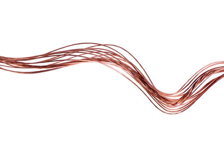 Copper Wire Swirl Isolated on White Background, Energy Industry