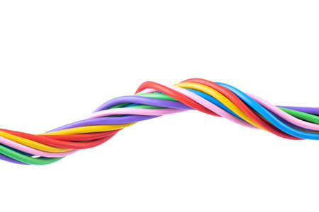 Colorful electrical cable isolated on white background