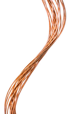 Pure Copper Wire Isolated on White Background, Energy Industry Concept