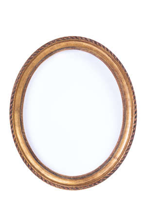 Simple empty retro oval wooden frame isolated on white background