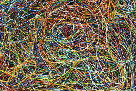 Network Chaos Of Colorful Electrical and Telecommunication Cables as Background