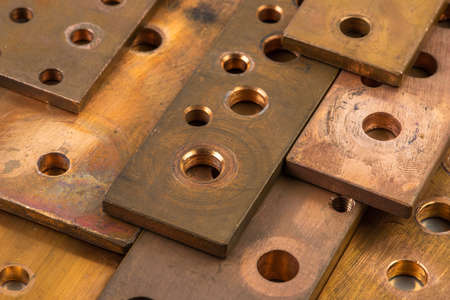 Copper bus bar with holes energy industry component close-up