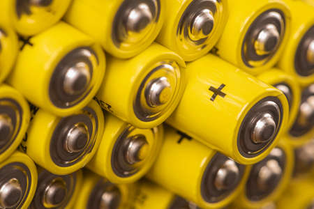 Alkaline battery AAA size with selective focus on single one