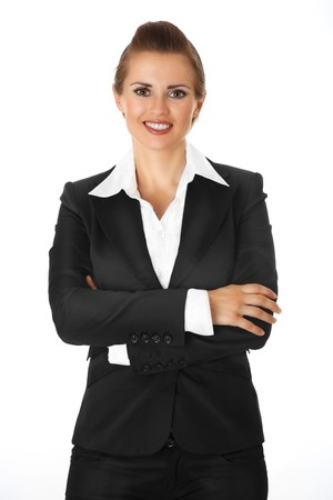 modern business woman with crossed arms on chest isolated on white photo