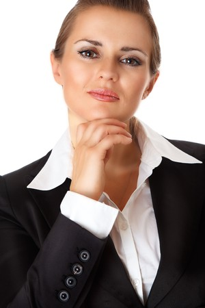 exultant: proud modern business woman isolated on white