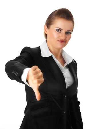 modern business woman showing thumbs down gesture isolated on white