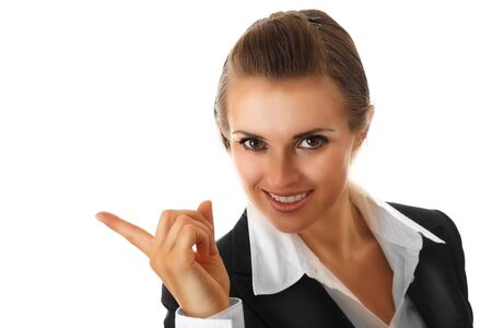 pointing finger: smiling modern business woman pointing finger on isolated on white