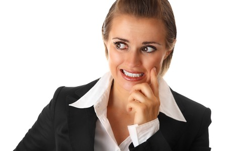 unsuccessfully: confused modern business woman isolated on white Stock Photo