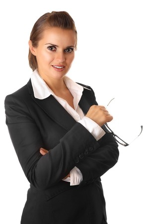 serious modern business woman with glasses isolated on white Stock Photo - 7658844