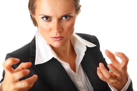 sureness: angry modern business woman isolated on white background