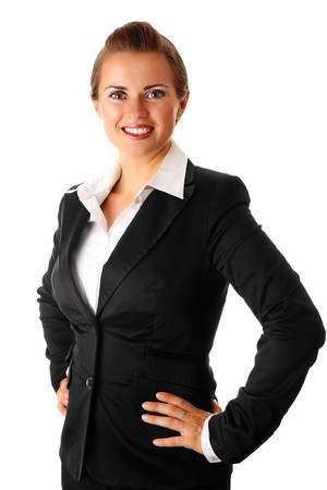 furor: successful modern business woman isolated on white background