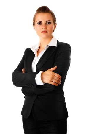 authoritative woman: modern business woman with crossed arms on chest isolated on white  Stock Photo
