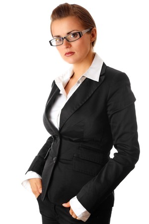 thinking modern business woman isolated on white  photo