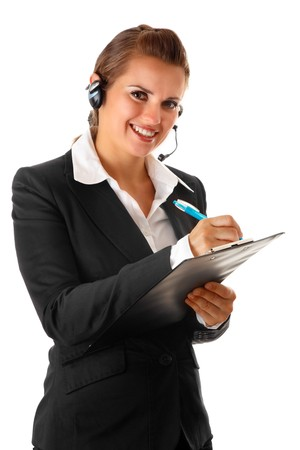 scratchpad: smiling modern business woman with headset and notebook isolated on white