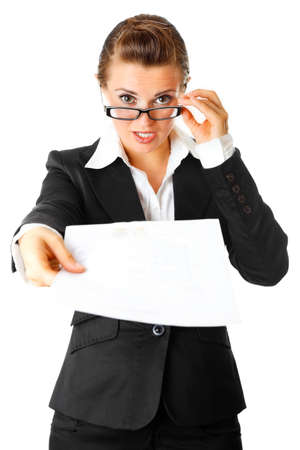 amazed  modern business woman giving document isolated on white  Stock Photo