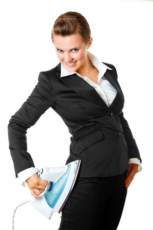 smart  modern business woman ironing her business suit right on herself isolated on white   photo