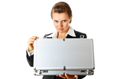 centrality: serious modern business woman holding open suitcase in hands  isolated on white  Stock Photo