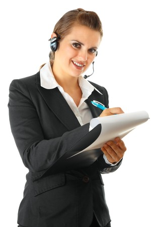 smiling modern business woman with headset and clipboard isolated on white