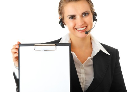 smiling modern business woman with headset and blank clipboard isolated on white