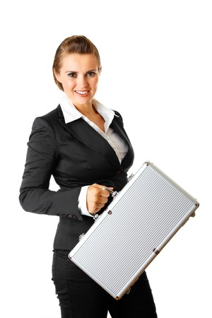 Smiling modern business woman holding  suitcase in hands isolated on white Stock Photo - 8274125
