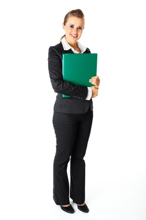 Full length portrait  of smiling modern business woman holding folders  with  documents in hands isolated on white  photo