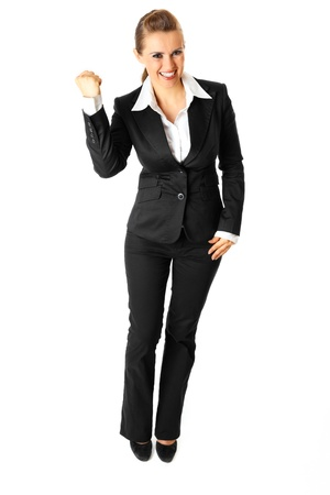 Full length portrait of successful modern business woman isolated on white background