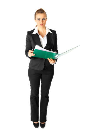 sagacious: Full length portrait  of thoughtful modern business woman holding folders  with  documents in hands isolated on white  Stock Photo