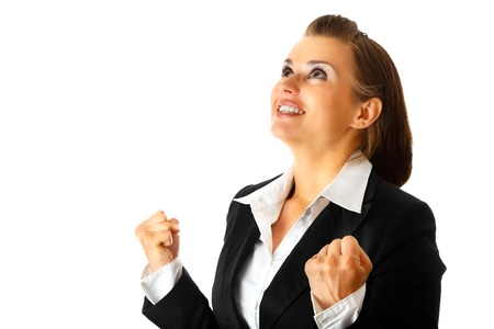 Excited modern business woman  rejoicing her success isolated on white Stock Photo - 8431690