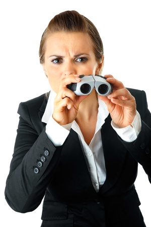 interrogatively: Interested modern business woman looking through binoculars isolated on white background