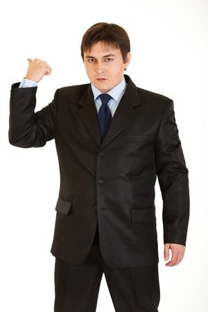 empresario enojado: Empresario enojado mostrando salir de gesto aislado en blanco