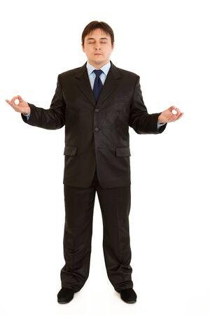 centrality: Meditating modern businessman