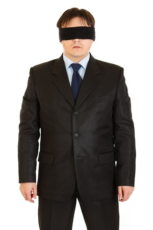 disoriented: Disoriented businessman with blindfold on eyes