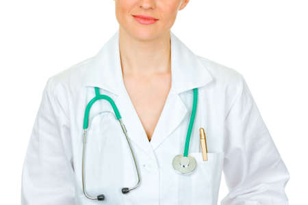 Medical female doctor with stethoscope isolated on white. Close-up. Stock Photo - 9465759