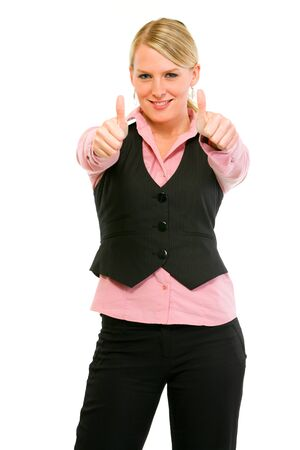 Smiling modern business woman showing thumbs up gesture isolated on white Stock Photo - 9558023