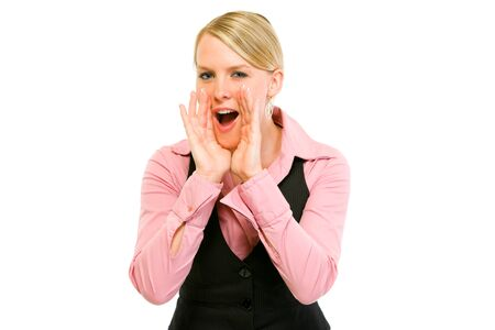 Cheerful modern business woman shouting through megaphone shaped hands isolated on white Stock Photo - 9558016