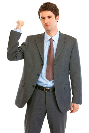 get out: Angry modern businessman showing get out gesture isolated on white