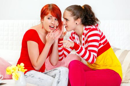 Girl whispering gossips in ear of her interested girlfriend and pointing finger in corner Stock Photo - 11640427