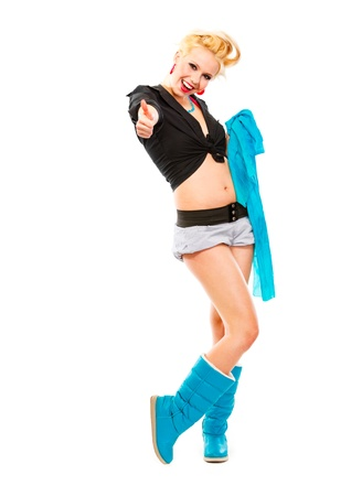 Full length portrait of smiling young girl with blue scarf showing thumbs up gesture isolated on white Stock Photo - 9950927