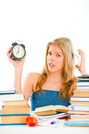 worrying: Stressed teen girl worrying about running out of time  Stock Photo
