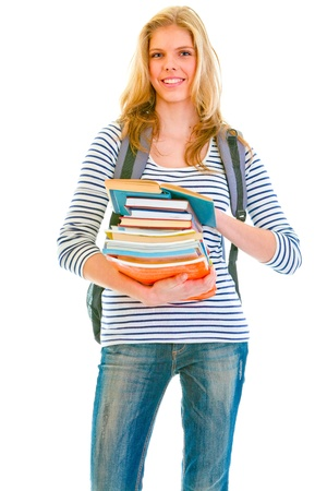 classbook: Happy teenager with books and backpack ready to go back to school  isolated on white