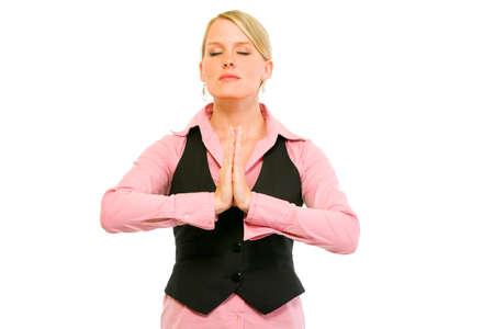 mujer meditando: Mujer de negocios moderna meditando aislado en blanco