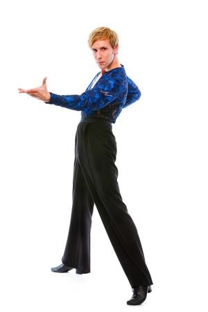 Ballroom male dancer posing on white background   photo