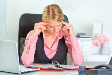 Business woman hard working on document at workplace   Stock Photo