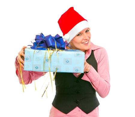 inquisitively: Interested business woman shaking present box trying to guess whats inside isolated on white
