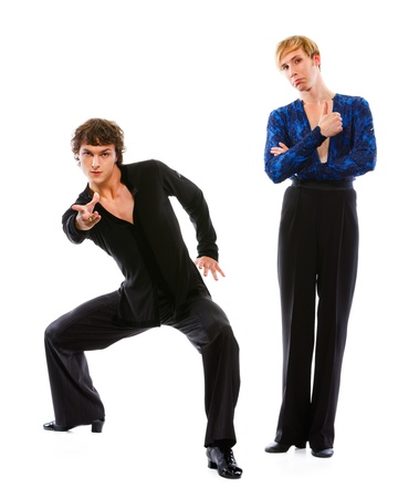 Latino male dancer showing thumbs up while friend making dance pose  photo