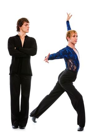 Ballroom male dancer looking on making dance pose friend   photo
