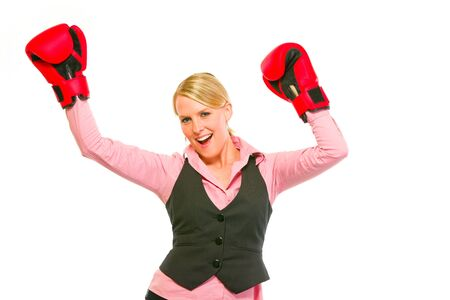 Modern business woman in boxing gloves celebrating victory Stock Photo - 11640563