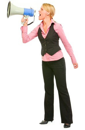 Modern business woman shouting through megaphone Stock Photo - 11640548